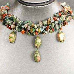 Gemstone Chip Choker Necklace